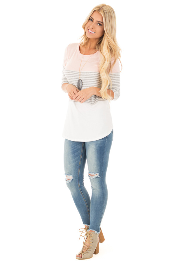 Blush and Ivory Tee with Solid and Striped Color Blocks front full body