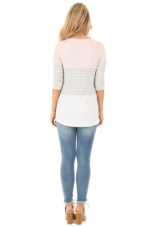 Blush and Ivory Tee with Solid and Striped Color Blocks back full body