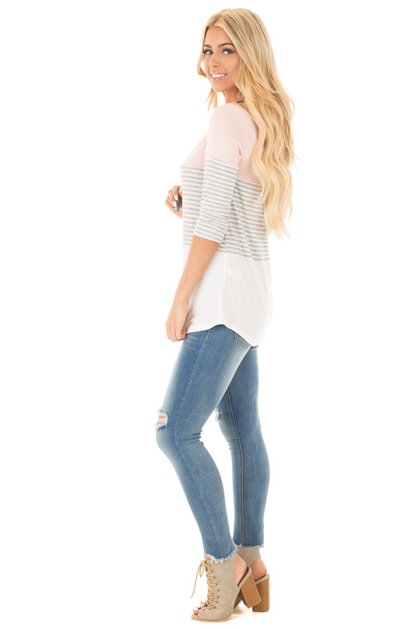 Blush and Ivory Tee with Solid and Striped Color Blocks side full body