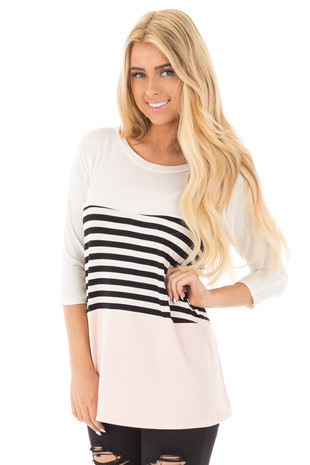 Ivory Black and Blush Striped and Solid Color Block Tee front close up