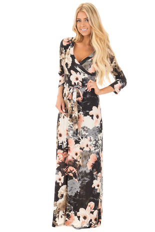 Black Floral Print Wrap Style Maxi Dress with Waist Tie front full body