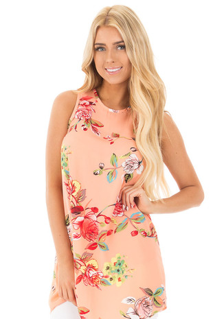 Peach Floral Print Tank with Key Hole Back front close up