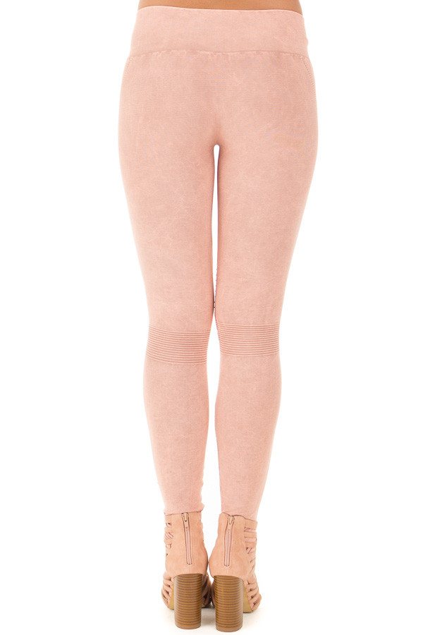Dusty Rose Moto Leggings with Stitched Detail back view