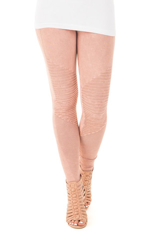 Dusty Rose Moto Leggings with Stitched Detail front view