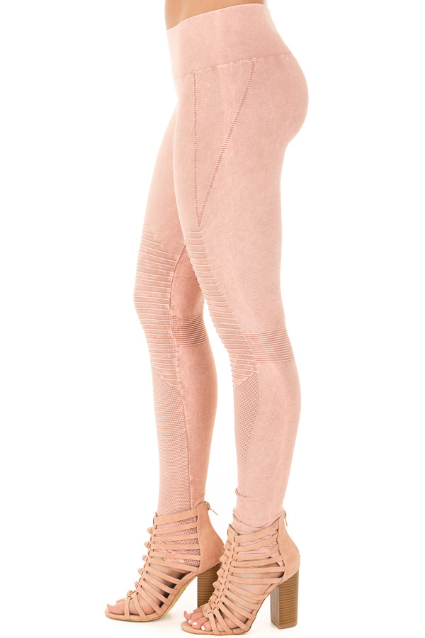 Dusty Rose Moto Leggings with Stitched Detail side right leg