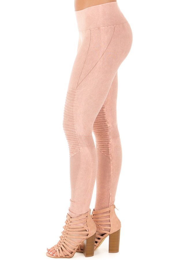 Dusty Rose Moto Leggings with Stitched Detail side left leg