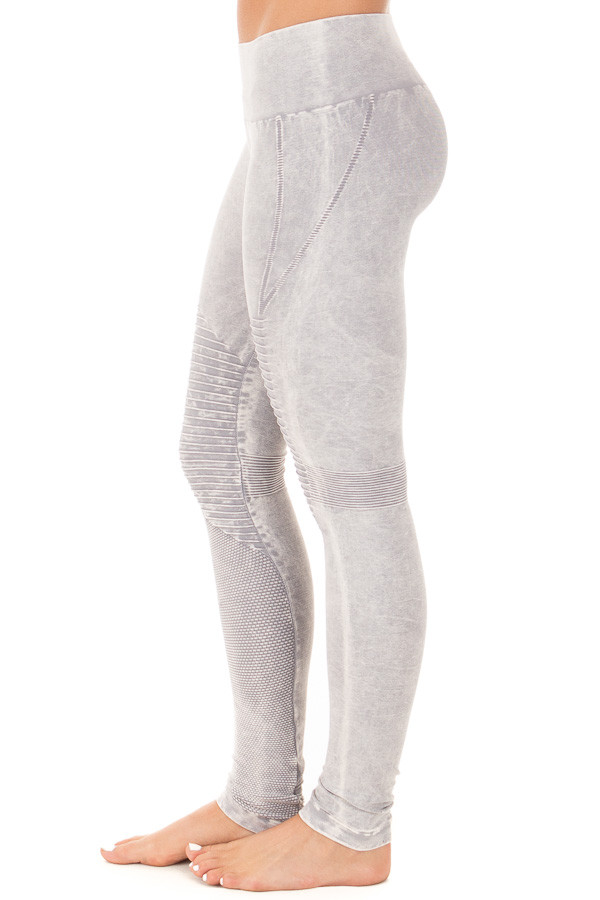 Cool Grey Moto Leggings with Stitched Detail side right leg