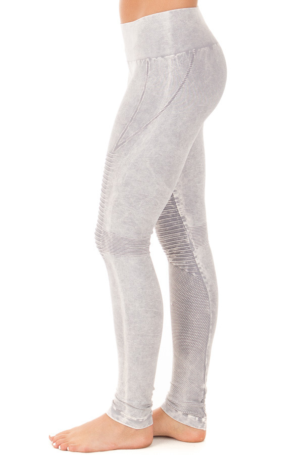 Cool Grey Moto Leggings with Stitched Detail side left leg