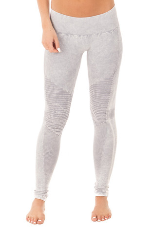 Cool Grey Moto Leggings with Stitched Detail front view