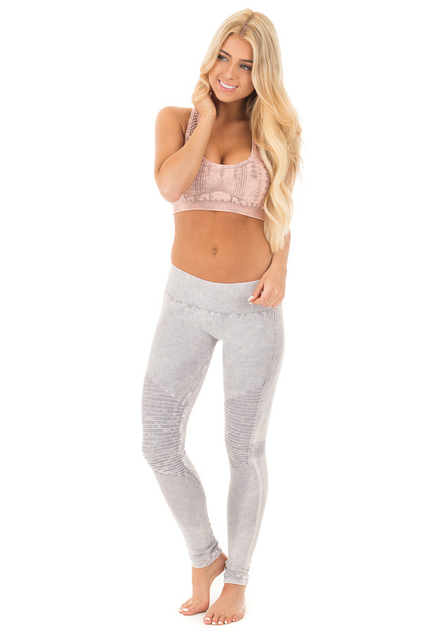 Cool Grey Moto Leggings with Stitched Detail front full body