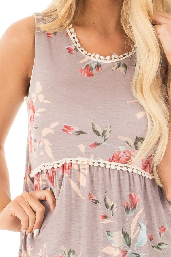 Mocha Flowing Babydoll Tank with Lace Trim detail