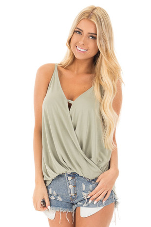 Sage Soft V-Neck Tank with Fold Over Detail front close up