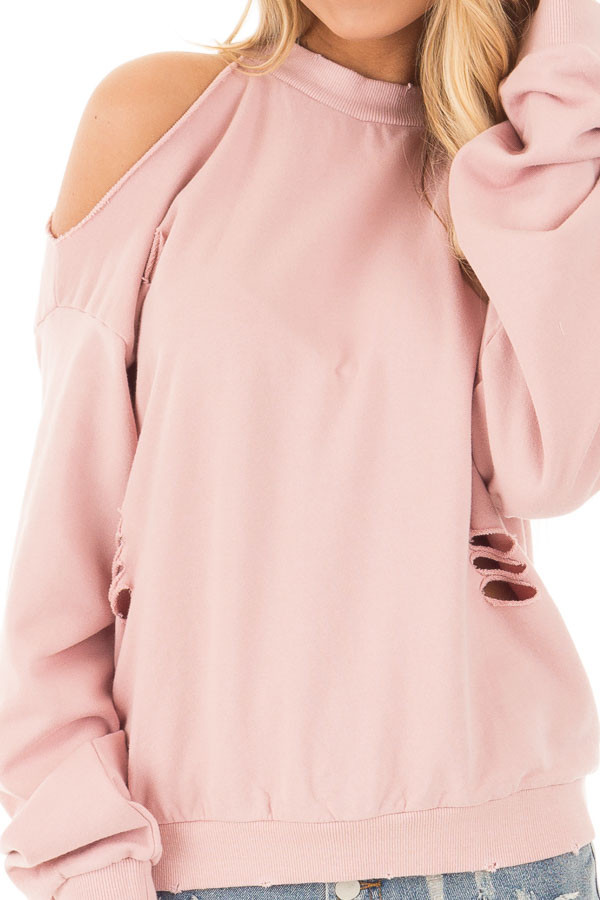 Dusty Pink Distressed Cold Shoulder Sweater detail