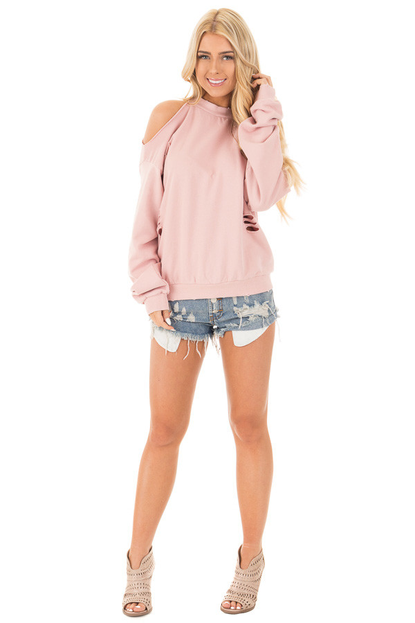 Dusty Pink Distressed Cold Shoulder Sweater front full body