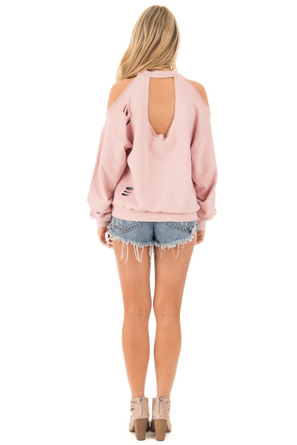 Dusty Pink Distressed Cold Shoulder Sweater back full body