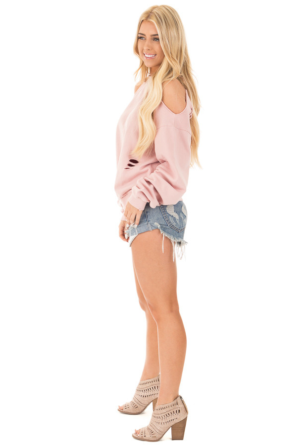 Dusty Pink Distressed Cold Shoulder Sweater side full body