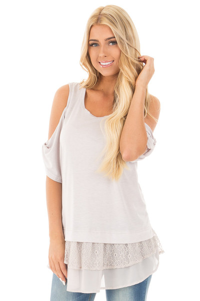 Dove Grey Cold Shoulder Tunic with Lace Contrast front close up