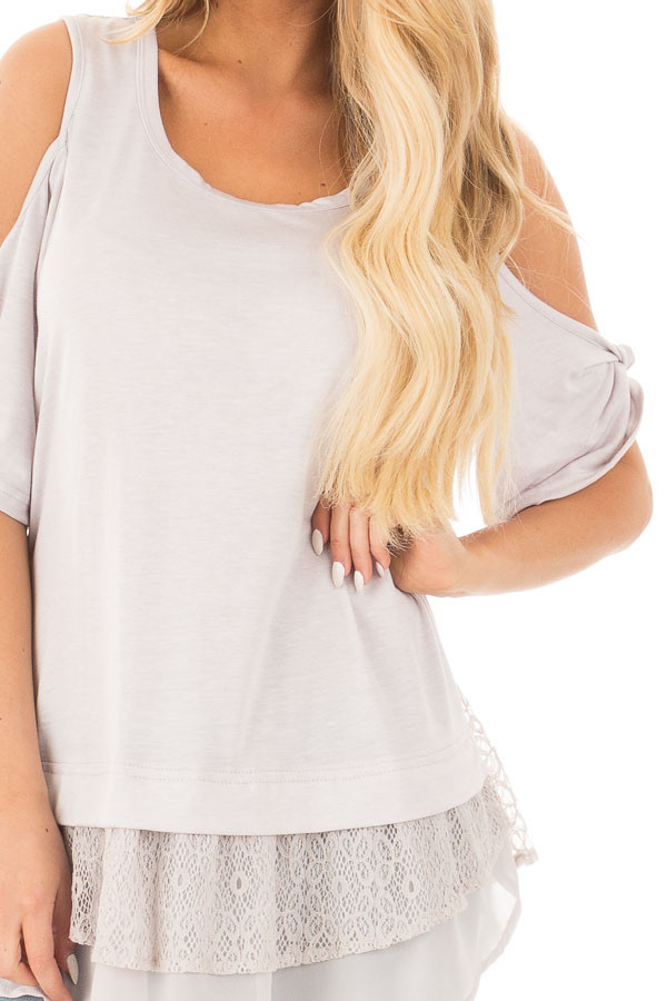 Dove Grey Cold Shoulder Tunic with Lace Contrast detail