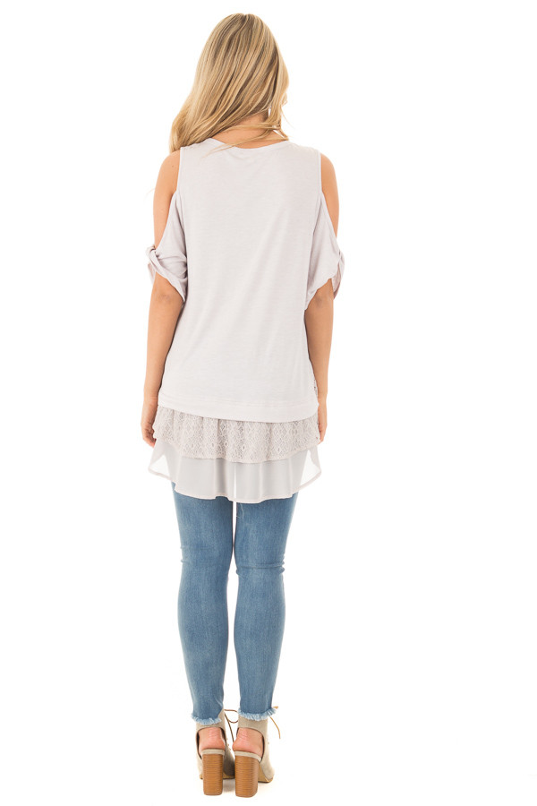 Dove Grey Cold Shoulder Tunic with Lace Contrast back full body