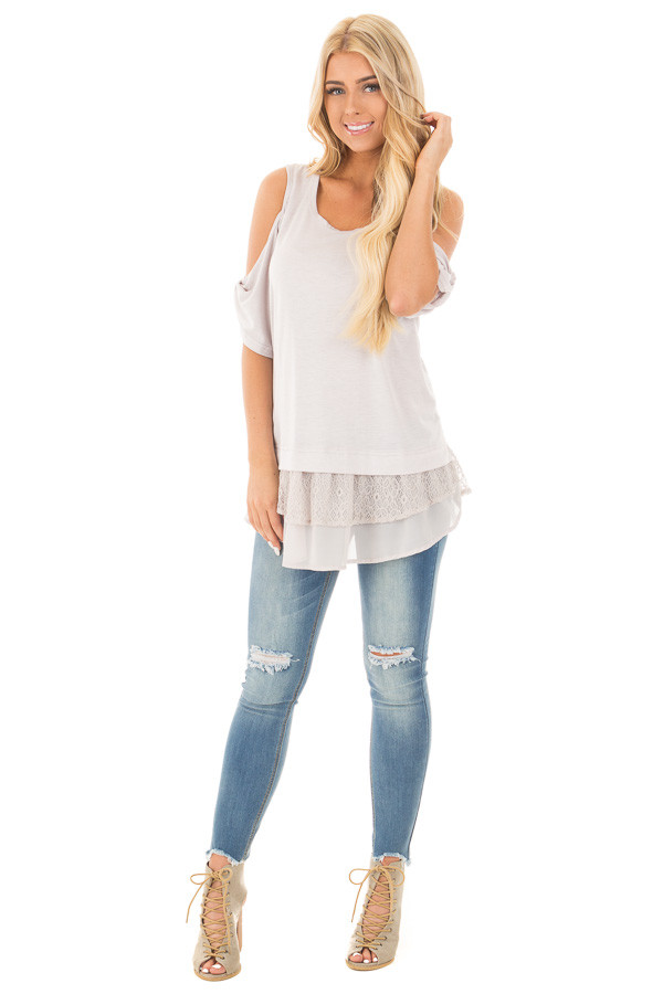 Dove Grey Cold Shoulder Tunic with Lace Contrast front full body
