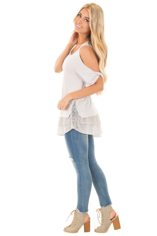 Dove Grey Cold Shoulder Tunic with Lace Contrast side full body