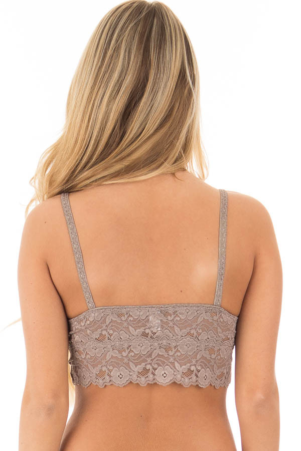 Cocoa Sheer Lace Bralette back