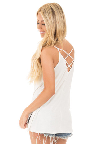 Off White Irreversible Criss Cross Tank with Side Slits back side close up