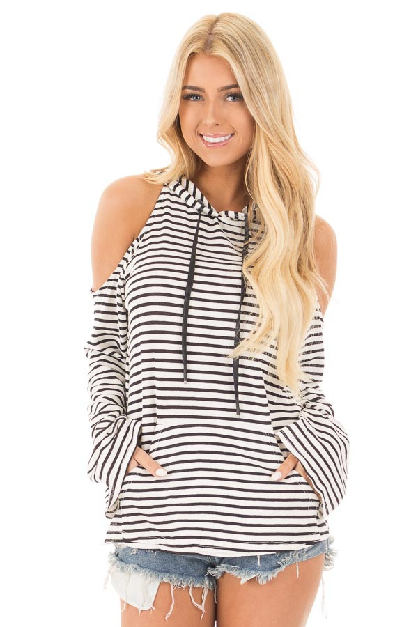 Black and White Striped Cold Shoulder Hooded Top front close up