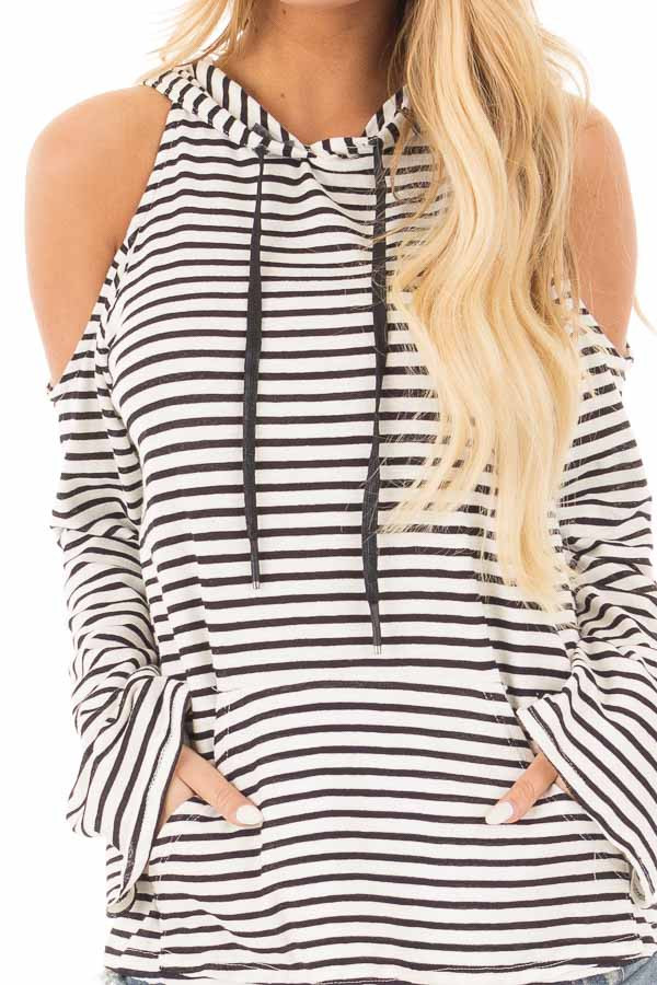 Black and White Striped Cold Shoulder Hooded Top detail
