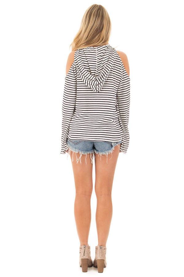 Black and White Striped Cold Shoulder Hooded Top back full body