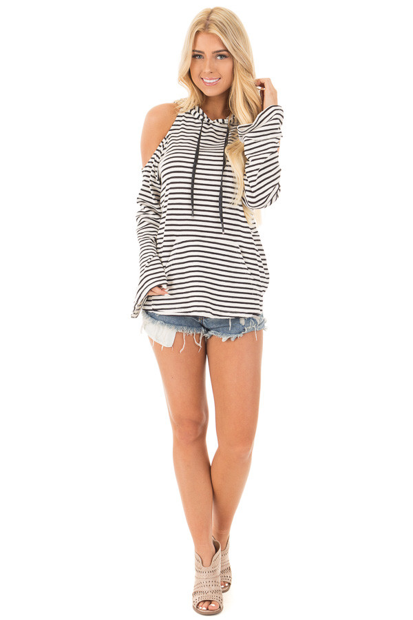 Black and White Striped Cold Shoulder Hooded Top front full body