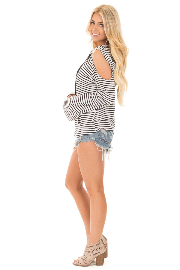 Black and White Striped Cold Shoulder Hooded Top side full body
