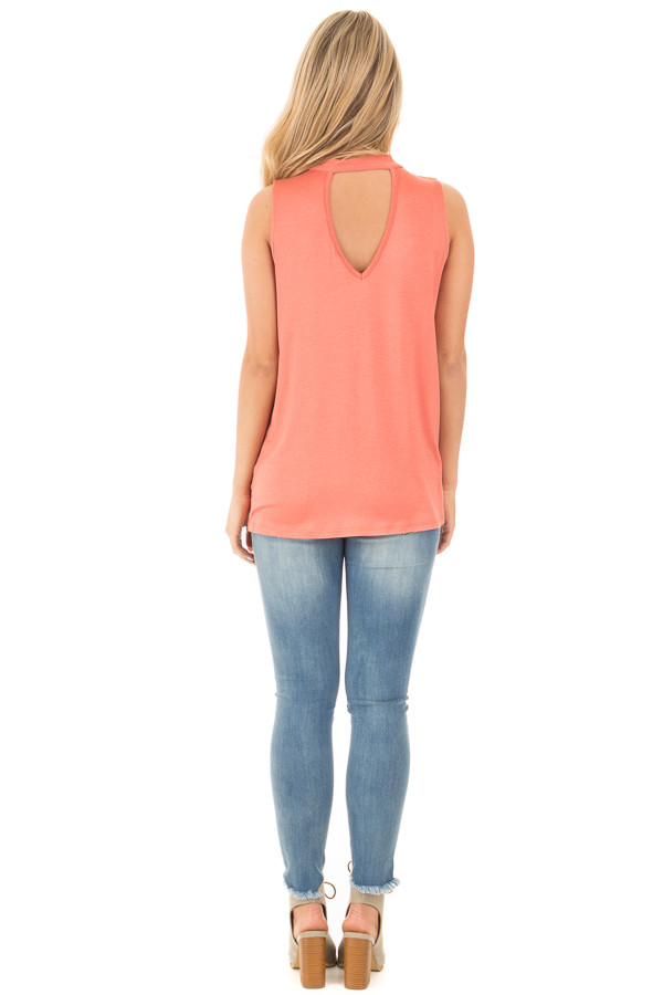 Dusty Coral Tank with Criss Cross Neckline Detail back full body