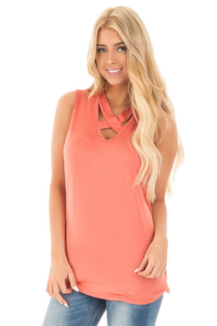 Dusty Coral Tank with Criss Cross Neckline Detail front close up