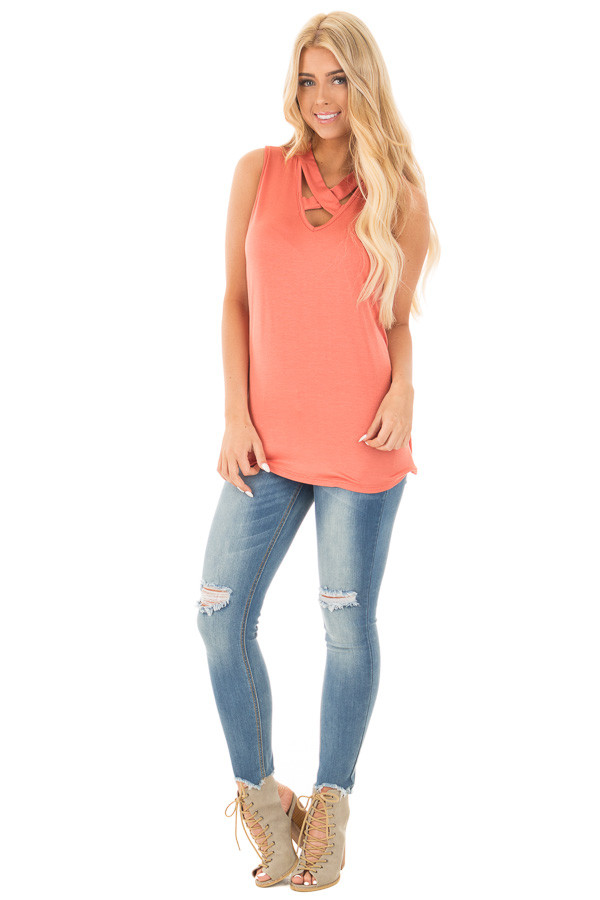 Dusty Coral Tank with Criss Cross Neckline Detail front full body