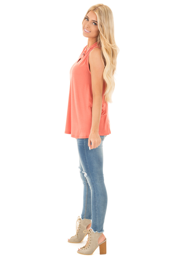 Dusty Coral Tank with Criss Cross Neckline Detail side full body