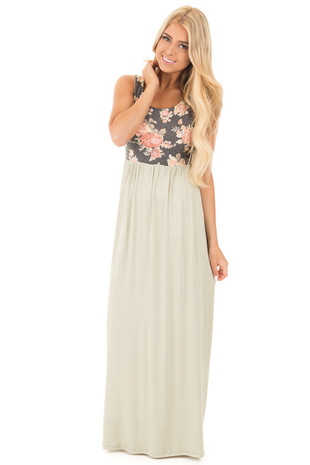 Charcoal and Sage Floral Print Sleeveless Maxi Dress front full body