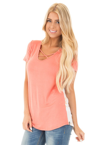 Coral Short Sleeve Criss Cross Top with Floral Print Back front close up