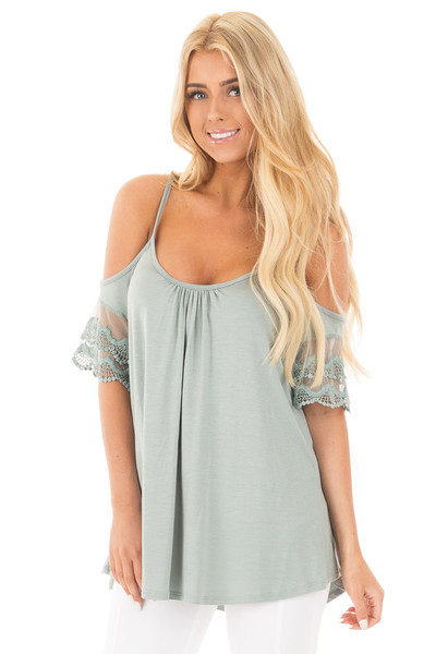 Blue Sage Cold Shoulder Top with Lace Sleeve Detail front close up