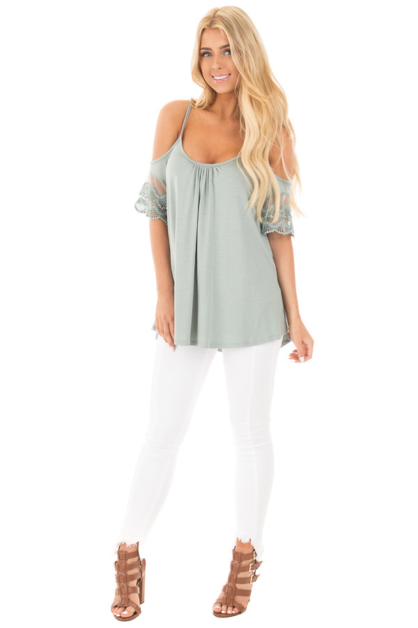 Blue Sage Cold Shoulder Top with Lace Sleeve Detail front full body