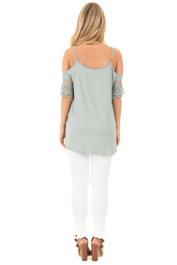 Blue Sage Cold Shoulder Top with Lace Sleeve Detail back full body