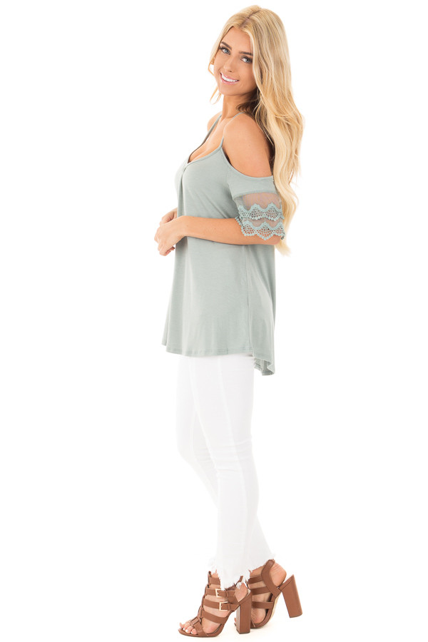 Blue Sage Cold Shoulder Top with Lace Sleeve Detail side full body