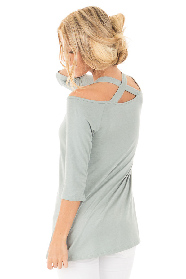 Blue Sage Halter Tunic Top with Criss Cross Back Detail back side close up