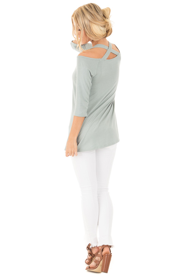 Blue Sage Halter Tunic Top with Criss Cross Back Detail back side full body