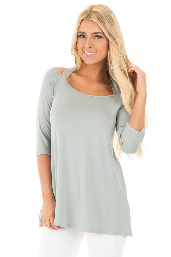 Blue Sage Halter Tunic Top with Criss Cross Back Detail front close up