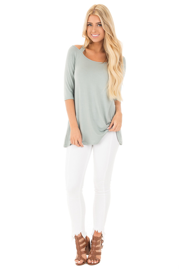 Blue Sage Halter Tunic Top with Criss Cross Back Detail front full body