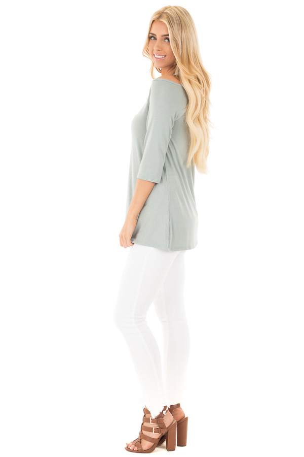 Blue Sage Halter Tunic Top with Criss Cross Back Detail side full body
