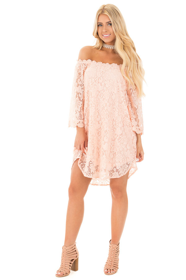 Blush Off the Shoulder 3/4 Sleeve Detailed Lace Dress front full body