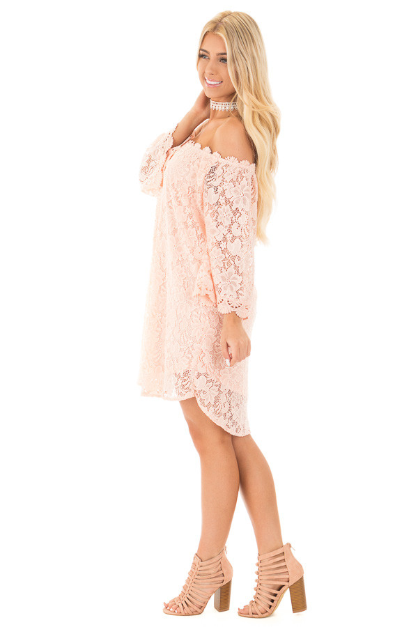 Blush Off the Shoulder 3/4 Sleeve Detailed Lace Dress side full body