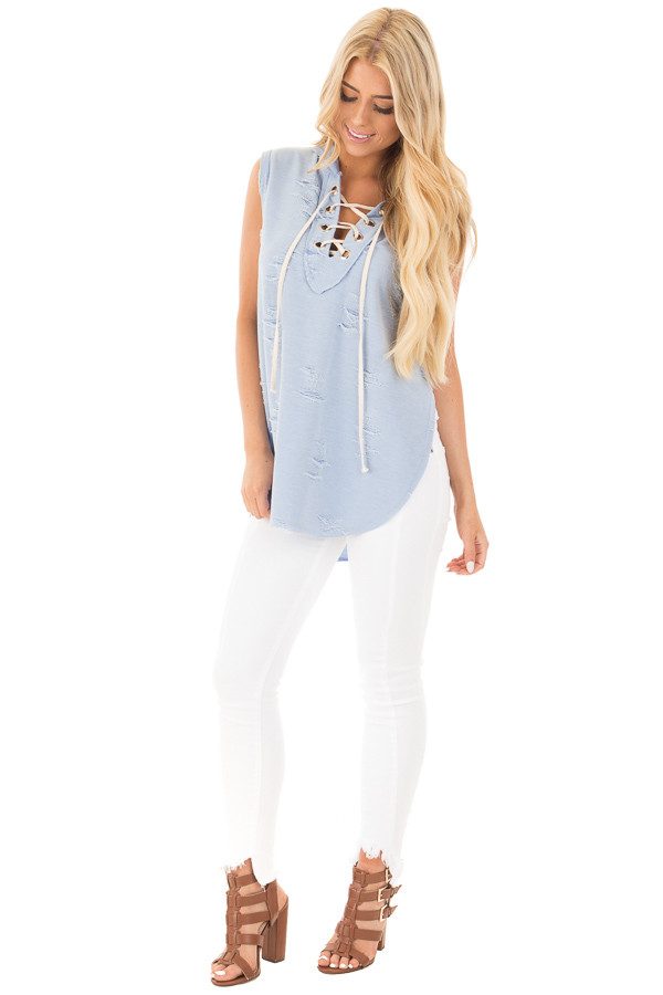 Blue Distressed Sleeveless Lace Up Hoodie front full body